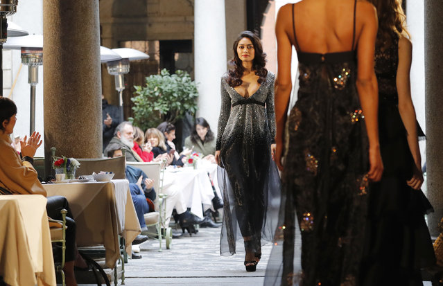Model Ambra Battilana Gutierrez wears a creation for Rocco Barocco women fall/winter 2018/19 collection, part of the Milan Fashion Week, unveiled in Milan, Italy, Wednesday, February 21, 2018. (Photo by Antonio Calanni/AP Photo)