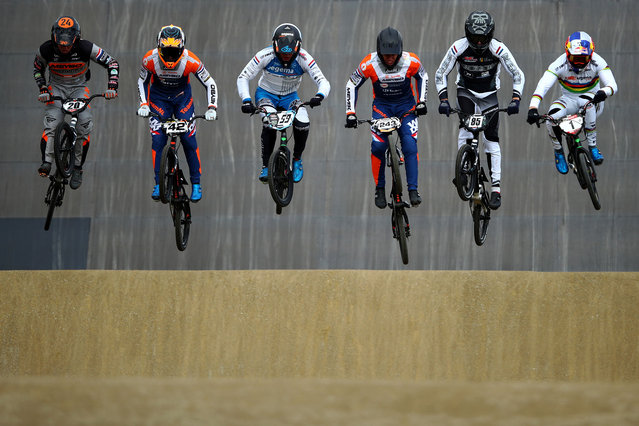 (L-R)  Pieter Van Lankveld, Jay Schippers, Ynze Oegema, Justin Kimmann, Teun Kivit and Twan Van Gendt compete during the Dutch National BMX Championships at Olympic Training Centre Papendal on October 11, 2020 in Arnhem, Netherlands. (Photo by Dean Mouhtaropoulos/Getty Images)