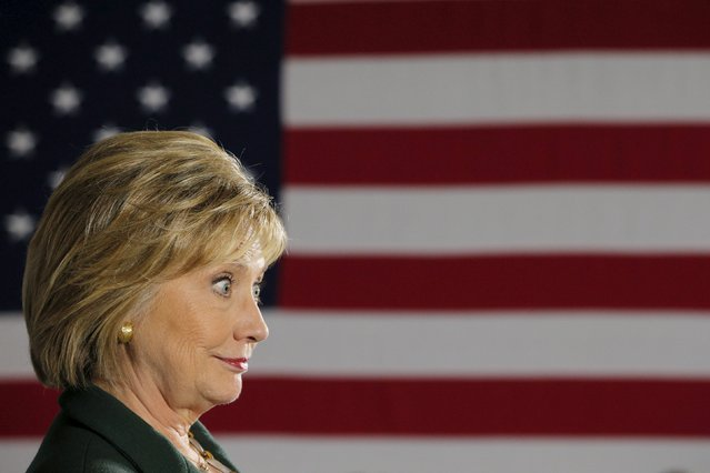 U.S. Democratic presidential candidate Hillary Clinton listens to a question from the audience during a veterans roundtable discussion with the Truman National Security Project at the VFW Hall in Derry, New Hampshire November 10, 2015. (Photo by Brian Snyder/Reuters)