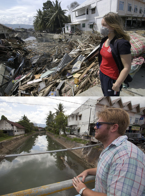 TOP IMAGE: A woman looks at the debris in a canal after the Tsunami in Banda Aceh, 150 miles from southern Asia's massive earthquake's epicenter on Tuesday January 5, 2005 in Banda Aceh, Indonesia. BOTTOM IMAGE: Brad Adams looks into a canal prior to the ten year anniversary of the 2004 earthquake and tsunami on December 15, 2014 in Banda Aceh, Indonesia. (Photo by Stephen Boitano/Barcroft Media)
