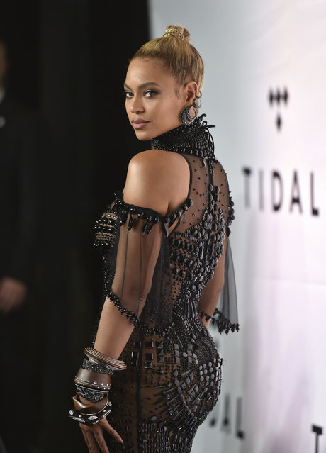 Singer Beyonce Knowles attends the Tidal X: 1015 benefit concert, hosted by Tidal and the Robin Hood Foundation, at the Barclays Center on Saturday, October 15, 2016, in New York. (Photo by Evan Agostini/Invision/AP Photo)