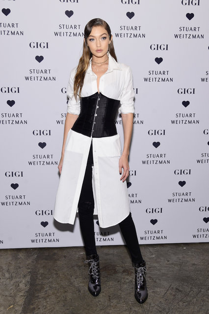 Gigi Hadid attends Stuart Weitzman's Launch of the Gigi Boot on October 26, 2016 in New York City. (Photo by Jamie McCarthy/Getty Images for Stuart Weitzman)