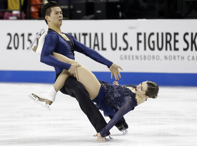 Marissa Castelli, right, and Mervin Tran perform during the pairs free skate program in the U.S. Figure Skating Championships in Greensboro, N.C., Saturday, January 24, 2015. (Photo by Gerry Broome/AP Photo)