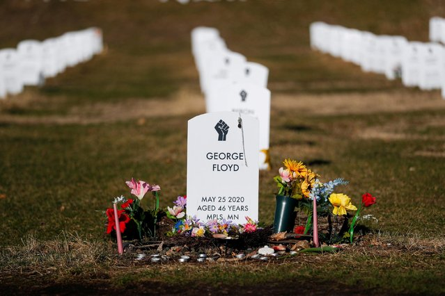 """A view of the """"Say Their Names"""" cemetery on the day of opening statements in the trial of former police officer Derek Chauvin, who is facing murder charges in the death of George Floyd, in Minneapolis, Minnesota, U.S., March 29, 2021. (Photo by Octavio Jones/Reuters)"""