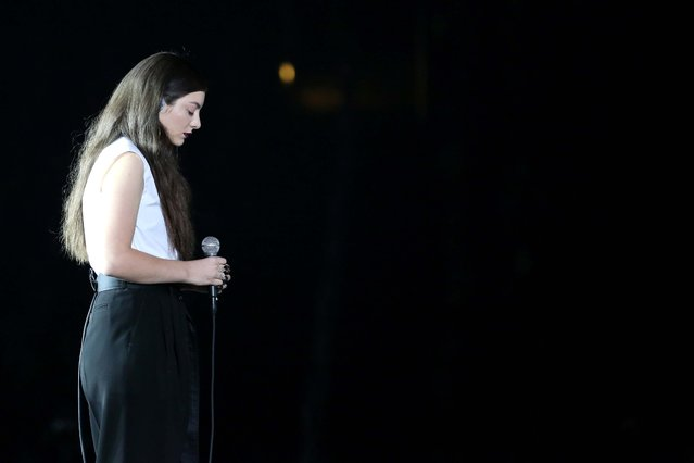 "Lorde performs ""Royals"" at the 56th annual Grammy Awards at Staples Center on Sunday, Jan. 26, 2014, in Los Angeles. (Photo by Matt Sayles/Invision/AP)"