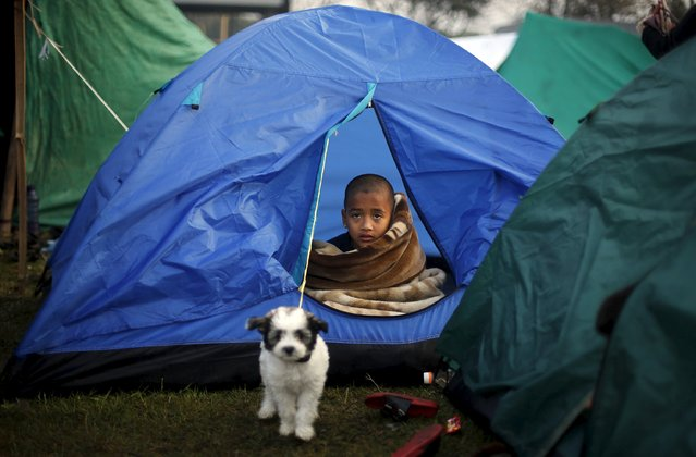 A boy sits inside a tent on an open ground, after Saturday's earthquake in Kathmandu, Nepal early April 29, 2015. (Photo by Adnan Abidi/Reuters)