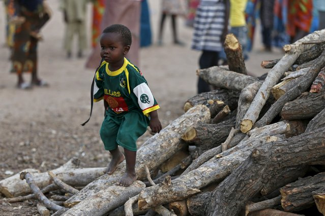 A boy plays atop firewood before women and children rescued from Boko Haram in Sambisa forest by Nigeria Military arrive at the Internally displaced people's camp in Yola, Adamawa State, Nigeria, May 2, 2015. (Photo by Afolabi Sotunde/Reuters)