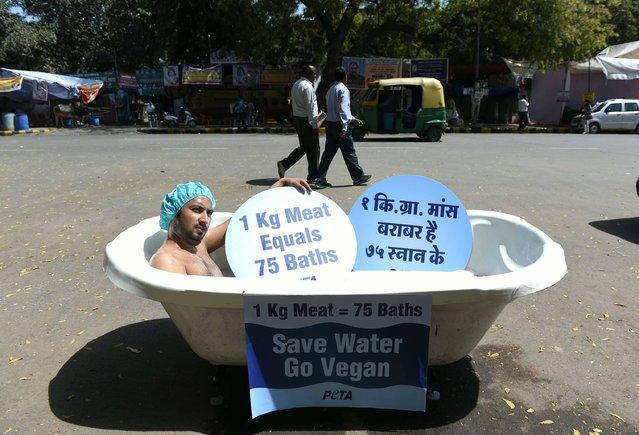 An Indian supporter of the People for the Ethical Treatment of Animals (PETA) organisation bathes publicly in a bathtub at a roadside during a protest held to coincide with the forthcoming World Water Day in New Delhi on March 21, 2016. Peta India is urging people to save water by becoming vegan, because of the amount of water used to produce meat and dairy products. (Photo by Sajjad Hussain/AFP Photo)