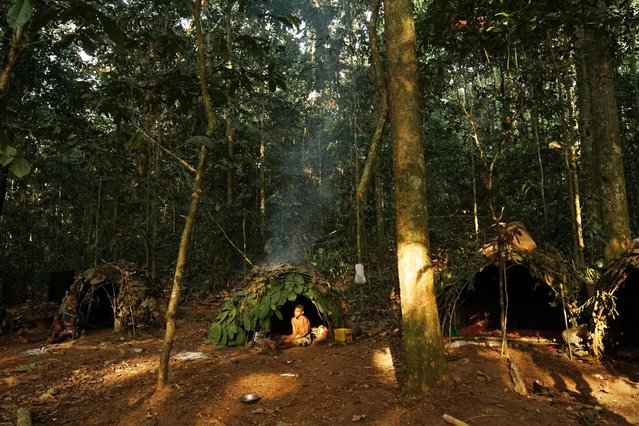 Houses of Baka tribes people, in Dzanga-Sangha Reserve, Central African Republic, February 2016. (Photo by Susan Schulman/Barcroft Images)