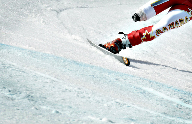 Canada's Braydon Luscombe skis during the Men's Downhill Standing training at the 2014 Sochi Paralympic Winter Games at the Rosa Khutor Alpine Center, March 6, 2014. (Photo by Christian Hartmann/Reuters)