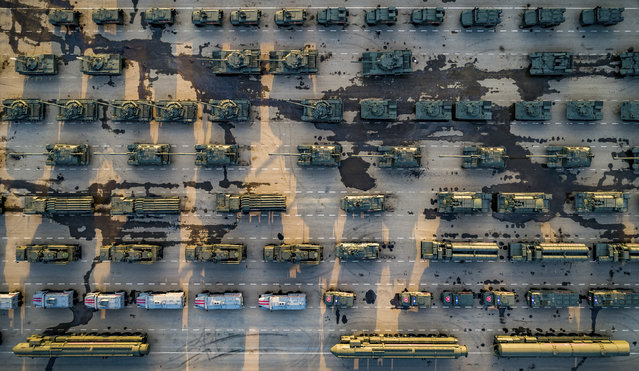 Russian military vehicles parked at a square for a rehearsal for the Victory Day military parade in Moscow, Russia, Monday, May 6, 2019. The parade will take place at Moscow's Red Square on May 9 to celebrate 74 years of the victory in WWII. (Photo by Dmitry Serebryakov)/AP Photo