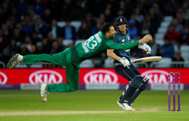 England's Joe Denly is caught by Pakistan's Junaid Khan  during the fourth one-day international between England and Pakistan at Trent Bridge on May 17, 2019 in Nottingham, England. (Photo by Andrew Boyers/Action Images via Reuters)