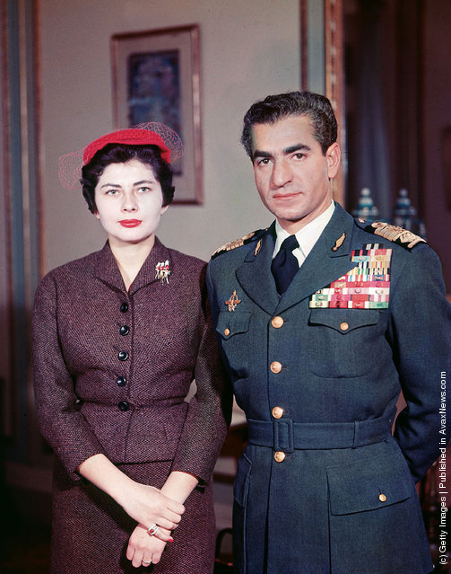 Muhammad Reza Pahlavi (R) the Shah of Iran (1919 - 1980) poses with his second wife Queen Soraya (Soraya Esfandiari) whom he divorced for failing to produce an heir, 1962. Soraya Esfandiari died at the age of 69 October 25, 2001 in Paris
