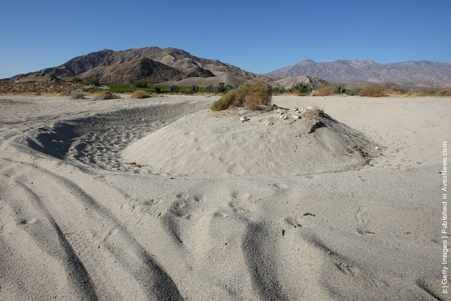 Desert sand is worn away by dirt bikers driving in circles near Travertine Point in an area where a controversial development would create a new town for nearly 40,000 people on the northwest shore of the biggest lake in California, the Salton Sea