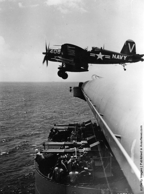 A United States navy Chance Vought F4U Corsair as it leaves the deck of a United States Navy aircraft carrier, operating off the coast of Korea, for a sortie against the Communist-led North Korean forces, 1952