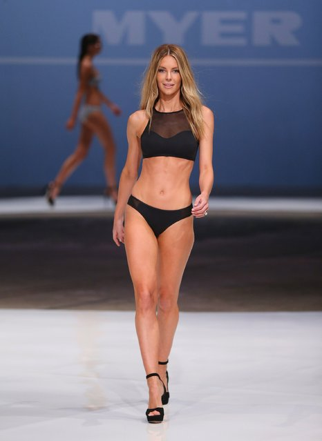 Jennifer Hawkins showcases designs by Cozi during the Myer Spring 2015 Fashion Launch on August 13, 2015 in Sydney, Australia. (Photo by Don Arnold/Getty Images)
