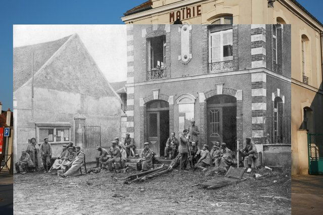 A man stands near Vareddes town hall on March 12, 2014 in Vareddes, France. Inset: German troops, taking a rest during the First Battle of the Marne, sit on the steps of the Vareddes Town Hall, France, 1914. (Photo by Peter Macdiarmid/Getty Images)