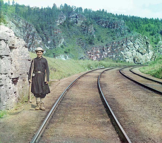 Photos by Sergey Prokudin-Gorsky. Bashkir switchman (near Ust-Katav station). Russia, Ufa Province, Zlatoust uyezd (district), Ust-Katavsky Zavod area, 1910