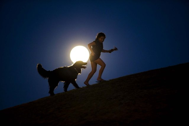 A girl plays with a dog as the Supermoon rises in Madrid. (Photo by Andres Kudacki/Associated Press)