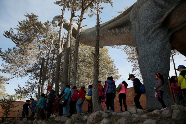 Visitors walk underneath a replica of a Titanosaur at the Cretaceous park in Cal Orcko, on the outskirts of Sucre, Bolivia, July 22, 2016. (Photo by David Mercado/Reuters)