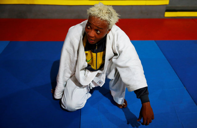 2016 Rio Olympics, Judo, Refugee Olympic Team Training, Reacao Institute, Rio De Janeiro, Brazil on July 29, 2016. Refugee and judo athlete from the Democratic Republic of Congo Yolande Mabika looks on during a training session. (Photo by Nacho Doce/Reuters)