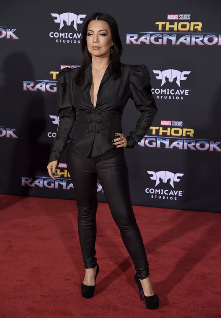 """Ming-Na Wen arrives at the world premiere of """"Thor: Ragnarok"""" at the El Capitan Theatre on Tuesday, October 10, 2017, in Los Angeles. (Photo by Chris Pizzello/Invision/AP Photo)"""