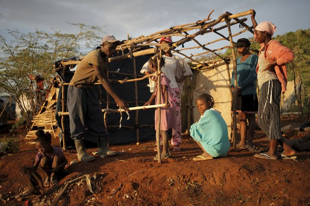 A man ties sticks to build a makeshift tent at a refugee camp for Haitians returning from the Dominican Republic on the outskirts of Anse-a-Pitres, Haiti, September 7, 2015. Dominican officials last month began implementing a controversial immigration program targeting Haitian migrants and Dominican-born people of Haitian descent. (Photo by Andres Martinez Casares/Reuters)