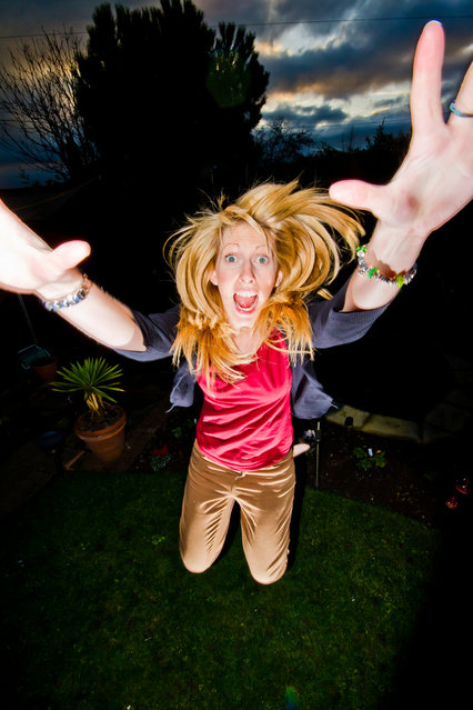 """Jumpology"". ""Crazy person jumping in the garden"". (Photo by Alex Turton)"