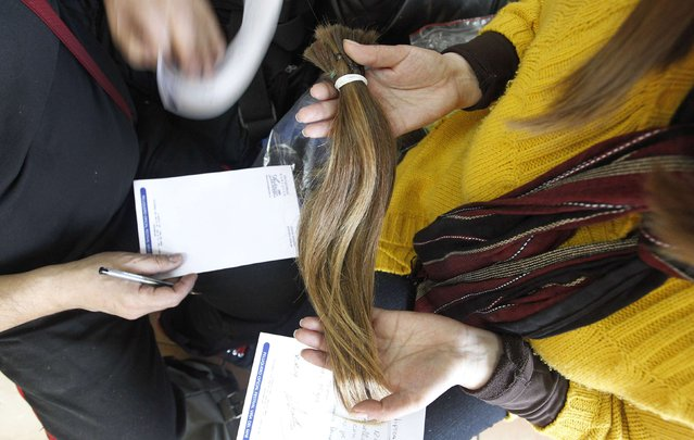 Pamela Matus (R) holds locks of her hair as stylist Marcelo Avatte (L) writes down the characteristics, for the making of a natural hair wig for a girl undergoing chemotherapy for cancer, in Vina del Mar, August 8, 2014. (Photo by Rodrigo Garrido/Reuters)
