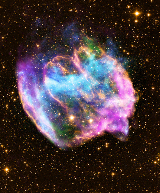 This NASA Chandra X-Ray Observatory image shows a highly distorted supernova remnant that may contain the most recent black hole formed in the Milky Way galaxy. The composite image combines X-rays from Chandra (blue and green), radio data from the Very Large Array (pink), and infrared data from the Palomar Observatory (yellow). Most supernova explosions that destroy massive stars are generally symmetrical.  In the W49B supernova, however, it appears that the material near its poles was ejected at much higher speeds than that at its equator.  There is also evidence that the explosion that produced W49B left behind a black hole and not a neutron star like most other supernovas. (Photo by L. Lopez/MIT/CXC/NASA via AFP Photo)