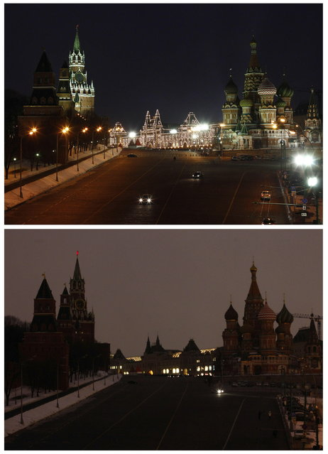 A combination photo shows a view of St. Basil's Cathedral, Red Square and the Kremlin before (top) and during Earth Hour in Moscow March 23, 2013. Earth Hour, when everyone around the world is asked to turn off the lights for an hour from 8.30pm local time, is meant as a show of support for tougher actions to combat climate change. (Photo by Mikhail Voskresensky/Reuters)