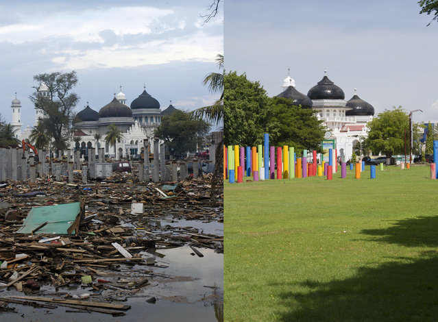 LEFT IMAGE: Devastation in front of Mesjid Raya Baiturrahman mosque after the Tsunami in Banda Aceh, 150 miles from southern Asia's massive earthquake's epicenter on Tuesday January 4, 2005 in Banda Aceh, Indonesia. RIGHT IMAGE: Taman sari park in front f Mesjid Raya Baiturrahman mosque prior to the ten year anniversary of the 2004 earthquake and tsunami on December 12, 2014 in Banda Aceh, Indonesia. (Photo by Stephen Boitano/Barcroft Media)