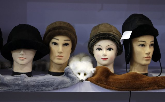 Fur hats are seen on display at the 2015 China Fur and Leather Products Fair in Beijing, January 15, 2015. Hundreds of domestic and foreign fur product companies take part in the fair which runs from January 13 to 16 at the National Convention Centre. (Photo by Jason Lee/Reuters)
