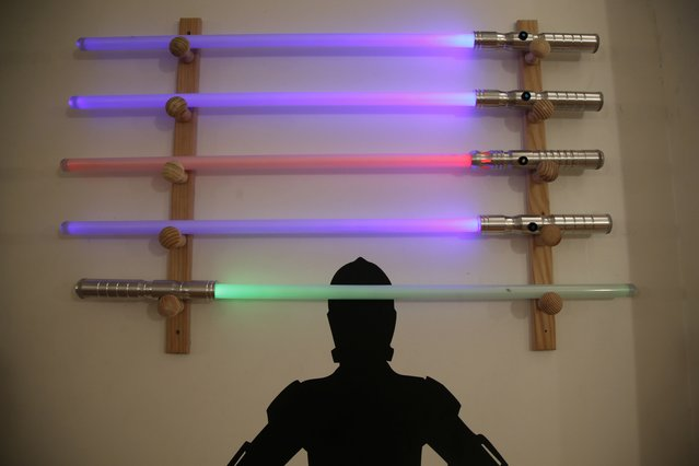 Light sabers are displayed at the Sport Saber League academy in Paris, France, November 9, 2015. (Photo by Charles Platiau/Reuters)