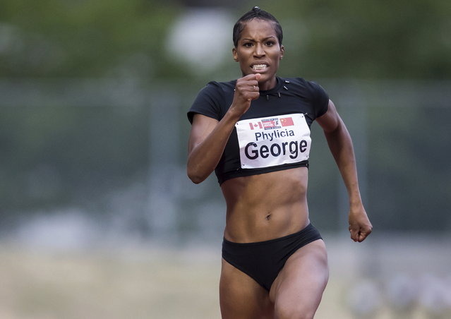 Phylicia George, of Canada, races to a fourth-place finish during the women's 200 meters at the Harry Jerome International Track Classic on Wednesday, June 27, 2018, in Burnaby, British Columbia. (Photo by Darryl Dyck/The Canadian Press via AP Photo)