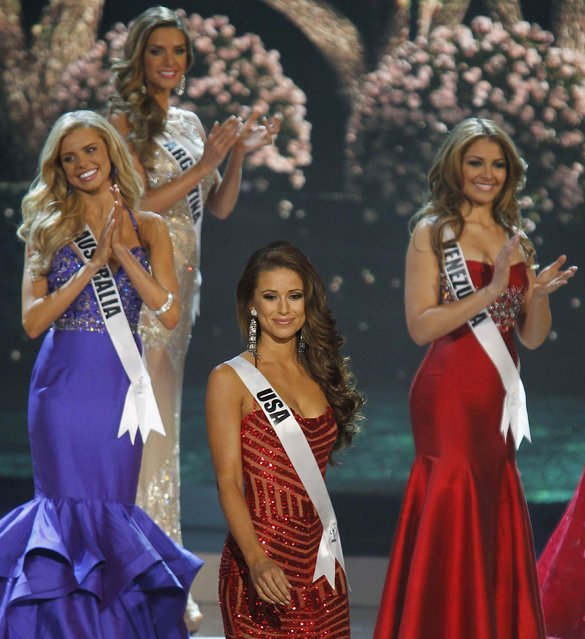 Miss USA Nia Sanchez reacts after being named a top 10 finalist during the 63rd Annual Miss Universe Pageant in Miami, Florida, January 25, 2015. Sanchez finished as first runner up in the competition. (Photo by Andrew Innerarity/Reuters)