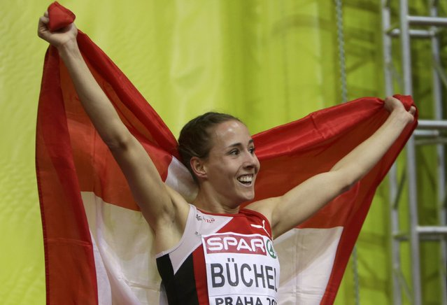 Selina Buchel of Switzerland celebrates after winning the women's 800 metres final during the European Indoor Championships in Prague March 8, 2015. REUTERS/David W Cerny (CZECH REPUBLIC  - Tags: SPORT ATHLETICS)