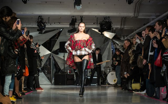 """Models in punk inspired clothing walk down the catwalk at the punk themed """"On Off Presents Punk Diversity"""" fashion show during London Fashion Week on February 19, 2016 in London, England. (Photo by Chris Ratcliffe/Getty Images)"""