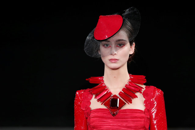 A model presents a creation by Italian designer Giorgio Armani as part of his Haute Couture Spring-Summer 2019 collection show for fashion house Giorgio Armani Prive in Paris, France, January 22, 2019. (Photo by Benoit Tessier/Reuters)