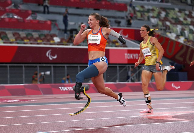 Marlene van Gansewinkel of Team Netherlands competes in the Women's 200m - T64 Round 1 - Heat 1 on day 7 of the Tokyo 2020 Paralympic Games at Olympic Stadium on August 31, 2021 in Tokyo, Japan. (Photo by Athit Perawongmetha/Reuters)