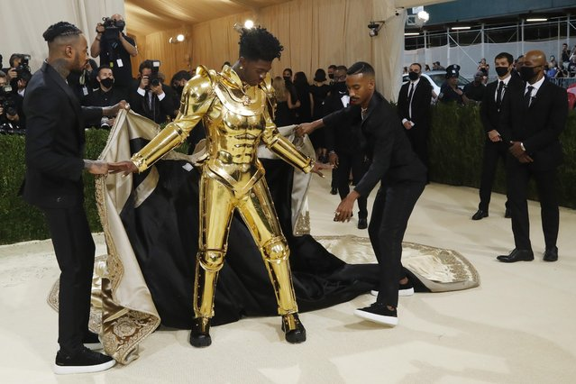 US rapper Lil Nas X arrives for the 2021 Met Gala at the Metropolitan Museum of Art on September 13, 2021 in New York. (Photo by Mario Anzuoni/Reuters)