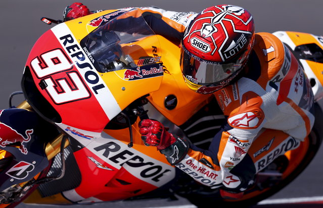 Honda MotoGP rider Marc Marquez of Spain rides his motorcycle during the qualifying session at Argentina's MotoGP Grand Prix at the Termas de Rio Hondo International circuit in Termas de Rio Hondo, April 18, 2015. (Photo by Marcos Brindicci/Reuters)