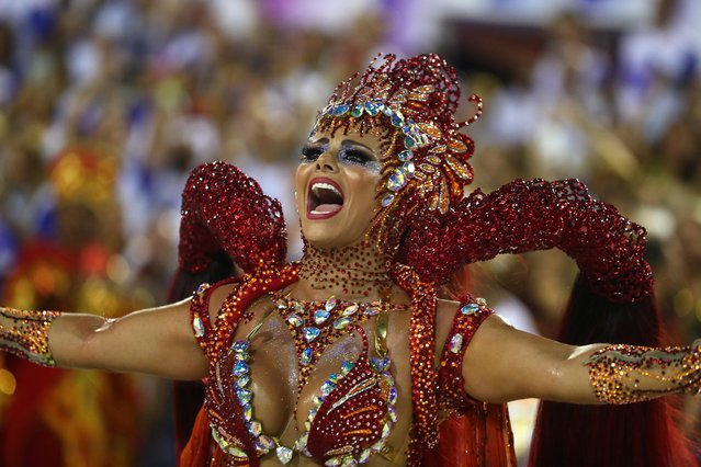 Drum queen Viviane Araujo from Salgueiro samba school performs during the first night of the Carnival parade at the Sambadrome in Rio de Janeiro, Brazil on March 4, 2019. (Photo by Pilar Olivares/Reuters)