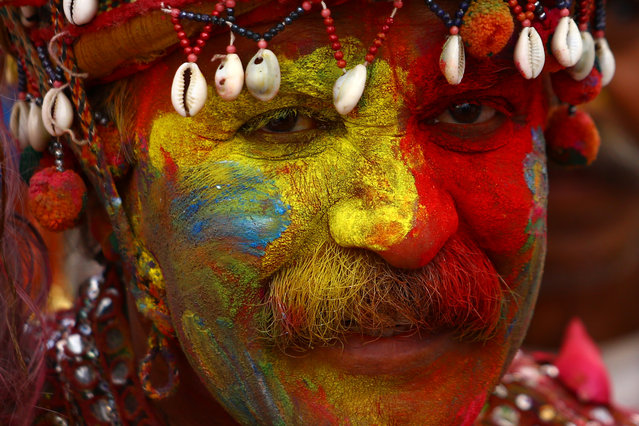 Foreign Indian tourist celebrating Holi with colour in Pushkar, Rajasthan, India on 18 March 2019. Holi Festival of India is one of the biggest Holi celebration in India as many Tourists and Devotees gather to attend this colourful programme. (Photo by NurPhoto via Getty Images/Stringer)