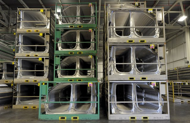 Pallets full of aluminum components await use at Ford's Kansas City Assembly Plant where new aluminum intensive Ford F-Series pickups are built in Claycomo, Missouri May 5, 2015. (Photo by Dave Kaup/Reuters)