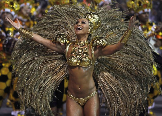 Brazilian model Sabrina Sato from the Gavioes da Fiel samba school takes part in the Special Group category of the annual Carnival parade in Sao Paulo's Sambadrome March 1, 2014. (Photo by Paulo Whitaker/Reuters)