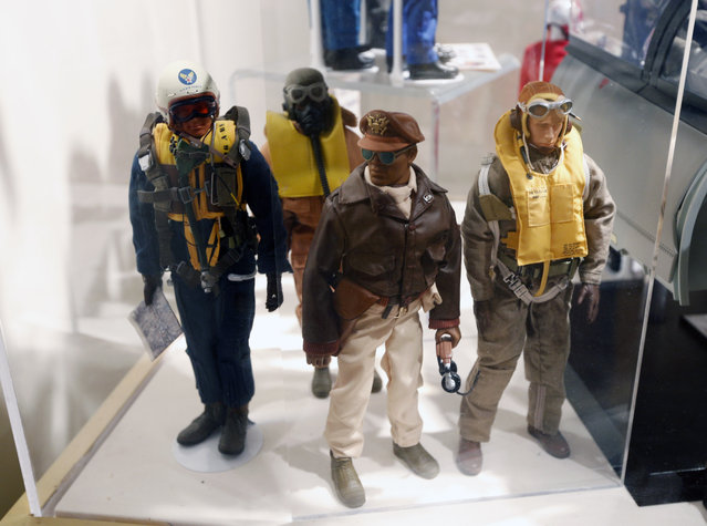 This January 31, 2014 photo shows Tuskegee Airmen G.I. Joe action figures in a display at the New York State Military Museum  in Saratoga Springs, N.Y. (Photo by Mike Groll/AP Photo)