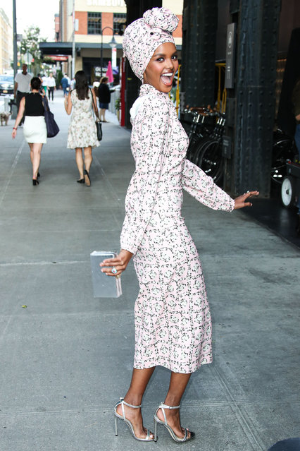 Halima Aden attends E!, Elle, & IMG NYFW Kick-Off Party at the Boom Boom Room on September 04, 2019 in New York City. (Photo by  Xavier Collin/Image Press Agency/Splash News and Pictures)