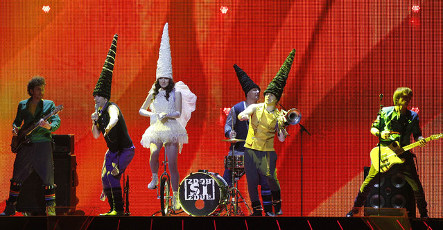 "In this Wednesday, May 11, 2011 file photo, Moldovan band Zdob si Zdub performs the song ""So Lucky"" during the rehearsal for the second semifinal of the Eurovision Song Contest in Duesseldorf, Germany. The costumes on display raised a chortle and no doubt there will be further similar moments at this year's competition, the final of which takes place Saturday, May 14 in the Swedish capital Stockholm. (Photo by Frank Augstein/AP Photo)"