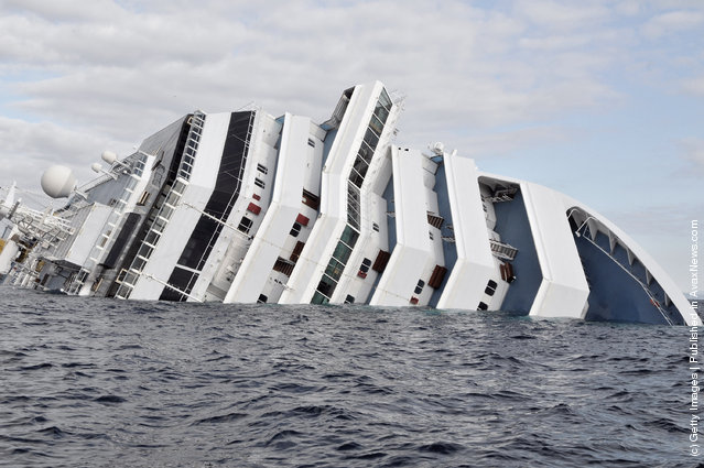 The cruise ship Costa Concordia lies stricken off the shore of the island of Giglio, on January 17, 2012 in Giglio Porto, Italy. More than four thousand people were on board when the ship hit rocks last Friday
